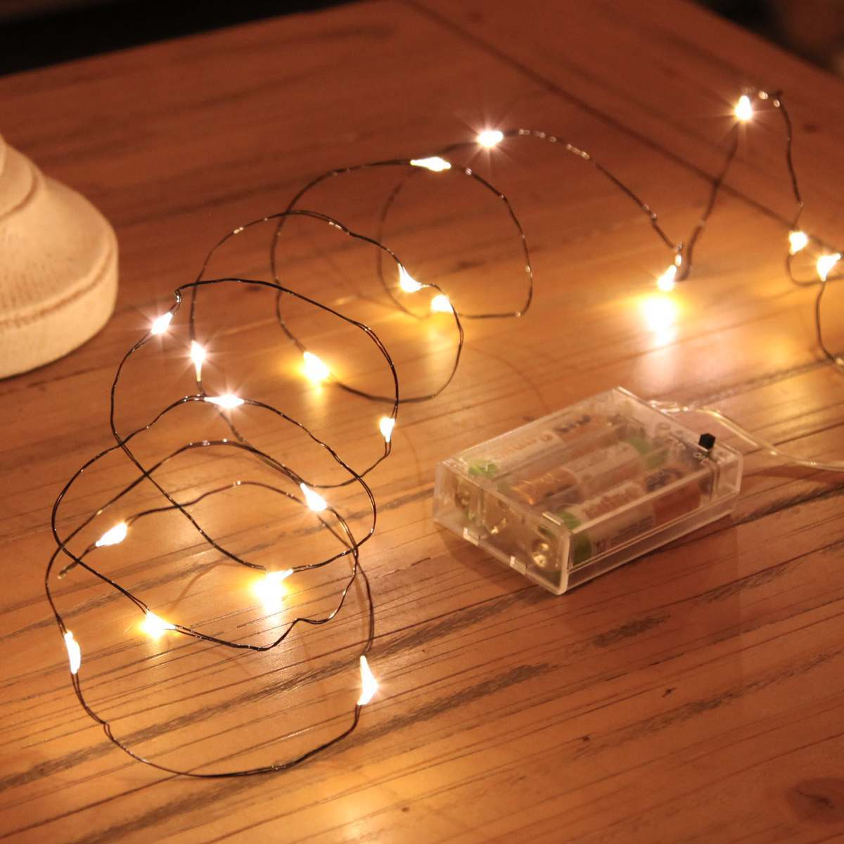 2m Micro Battery Fairy Lights on Black Wire, 20 LEDs