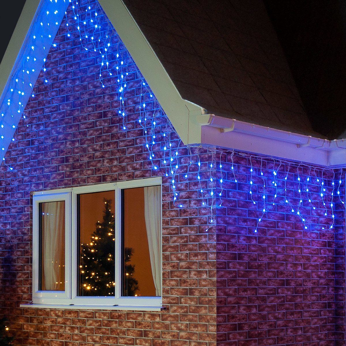 2m outdoor led icicle lights connectable white cable. Black Bedroom Furniture Sets. Home Design Ideas