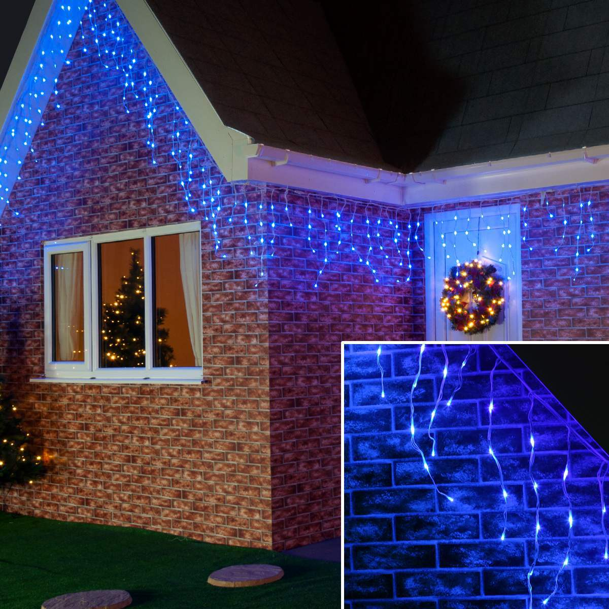 Click to view product details and reviews for 20m Blue Outdoor Christmas Icicle Lights Connectable 768 Leds White Cable.