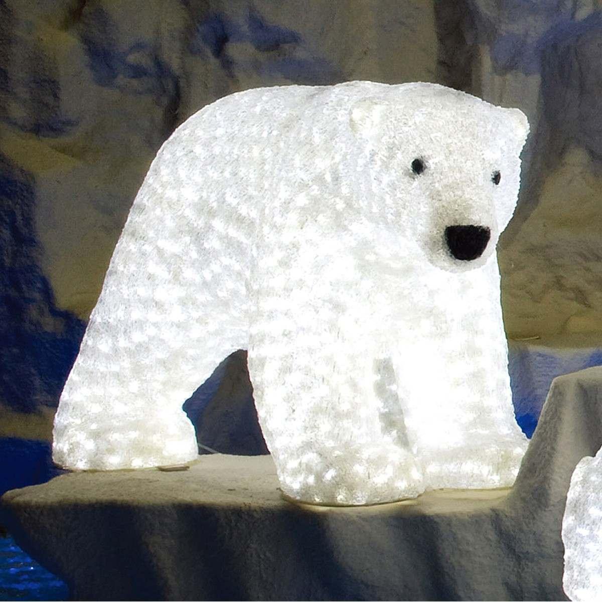 Commercial Christmas Decorations Florida: 1.1cm Outdoor Femal Polar Bear Figure, 1540 White LEDs