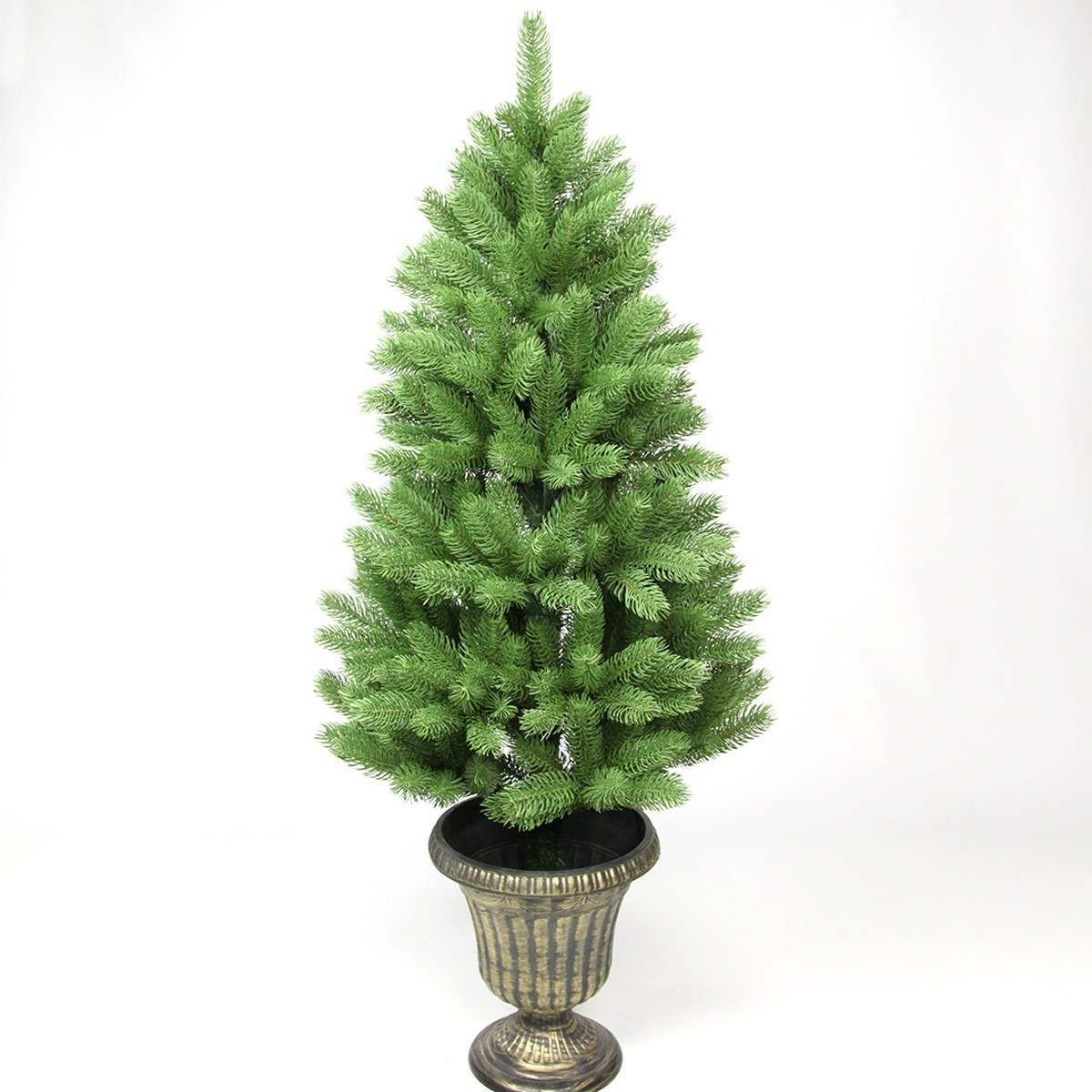 Click to view product details and reviews for 4ft Green Pe Artificial Slim Potted Tree With Gold Base.