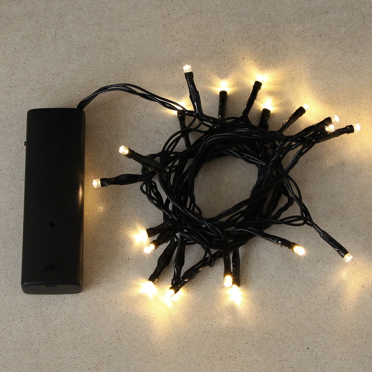 2m Indoor Battery Fairy Lights, 20 LEDs, Black Cable
