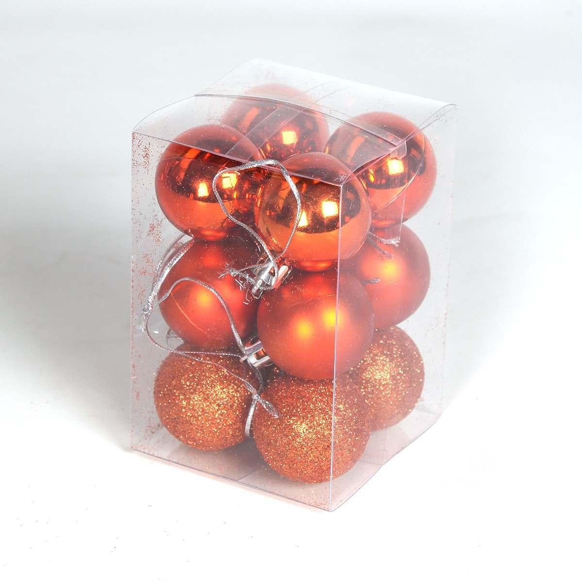 12 X 40mm Orange Assorted Finish Shatterproof Baubles