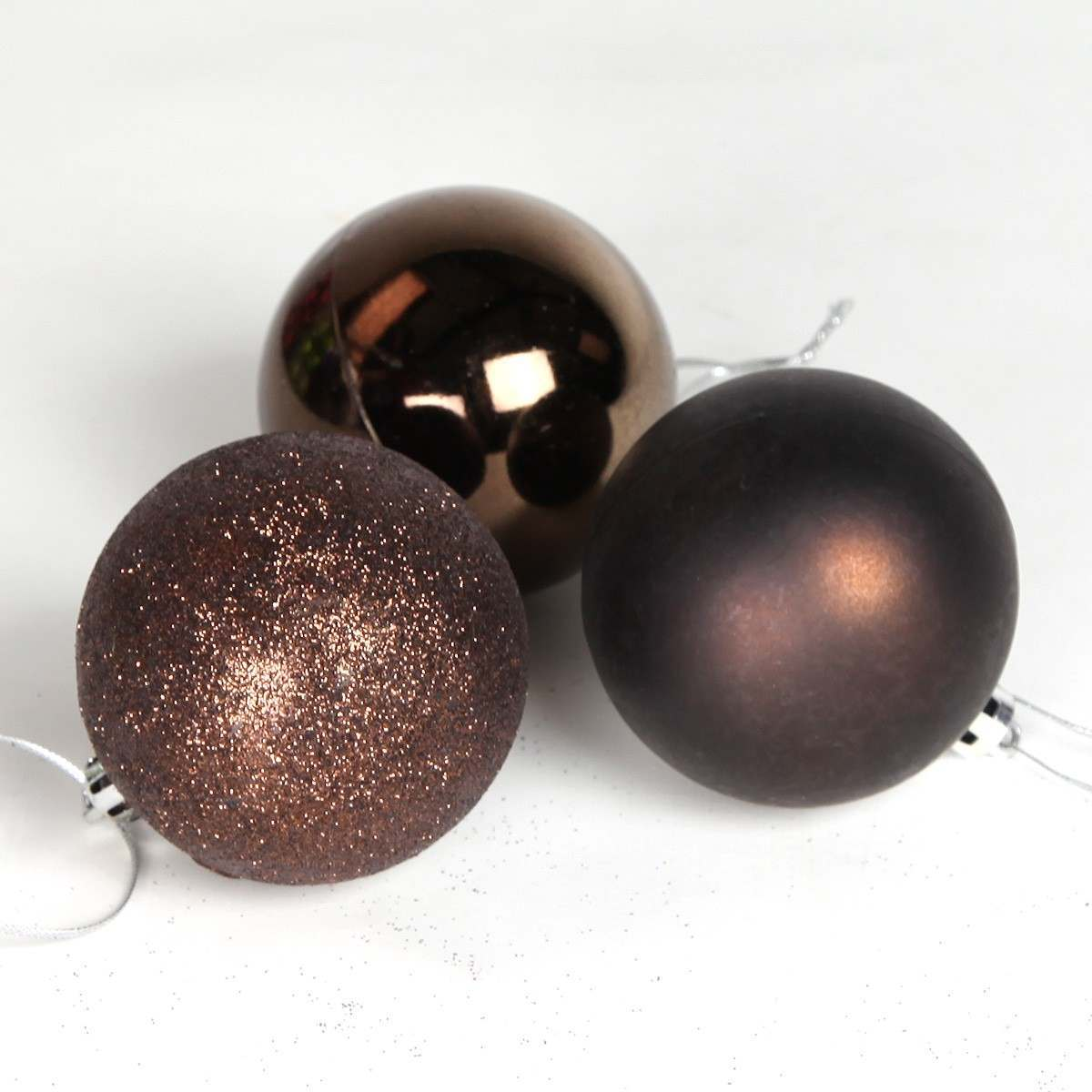 12 X 60mm Chocolate Assorted Finish Shatterproof Baubles
