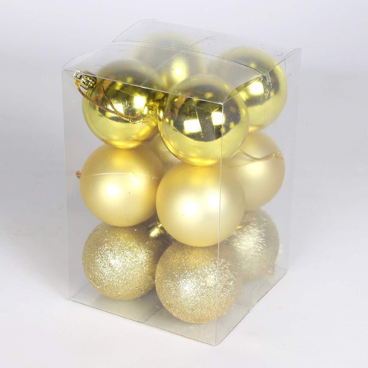 12 x 60mm Assorted Finish Shatterproof Christmas Tree Baubles