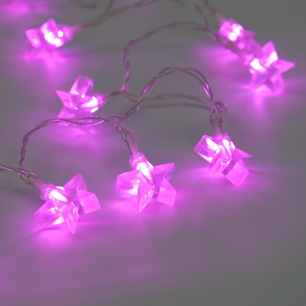 Star Indoor Battery Fairy Lights, 10 Pink LED, Clear Cable