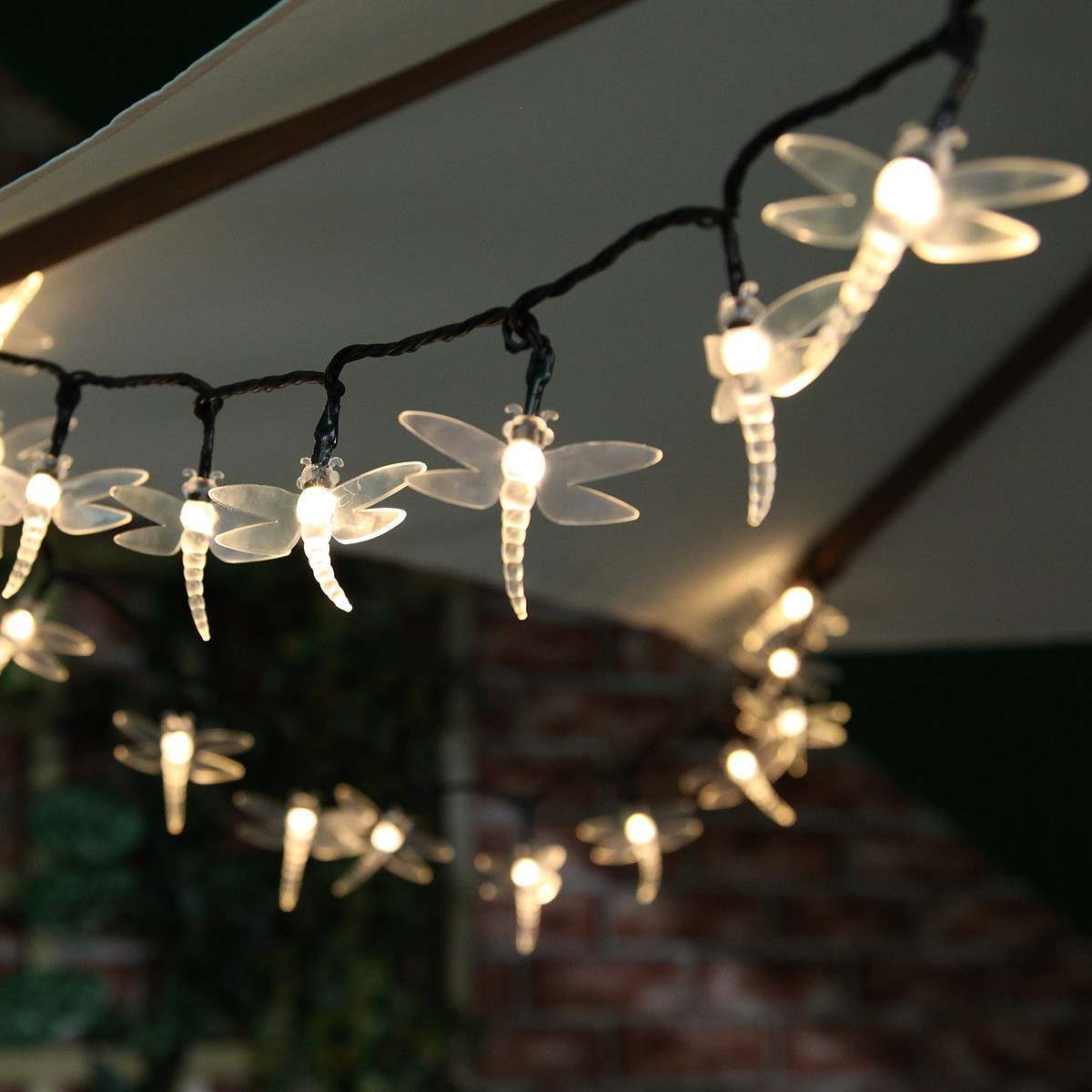 Solar Multi Function Dragonfly Christmas Fairy Lights 100 Warm White Leds 10m