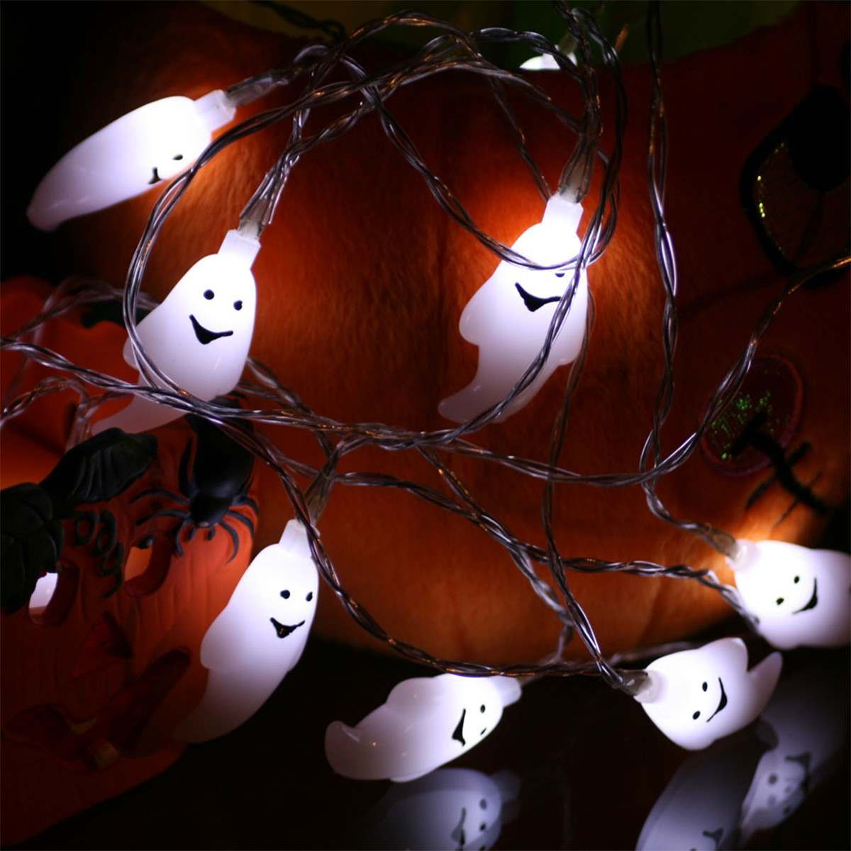 1.8m Battery Operated Ghost Halloween Fairy Lights 10 White LEDs