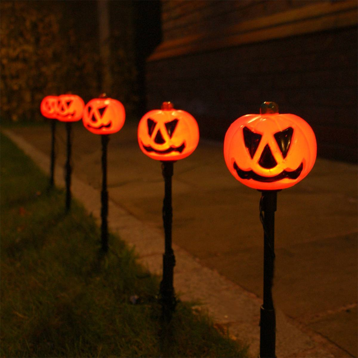 Outdoor Plug In Halloween Pumpkin Stake Lights, 5 Pack