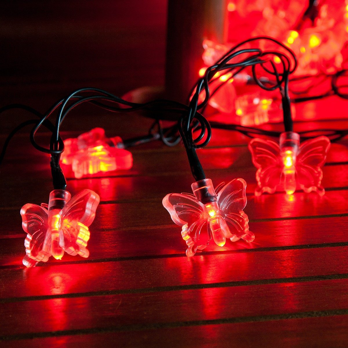 50 Red LED Butterfly Battery Operated Fairy Lights with Timer