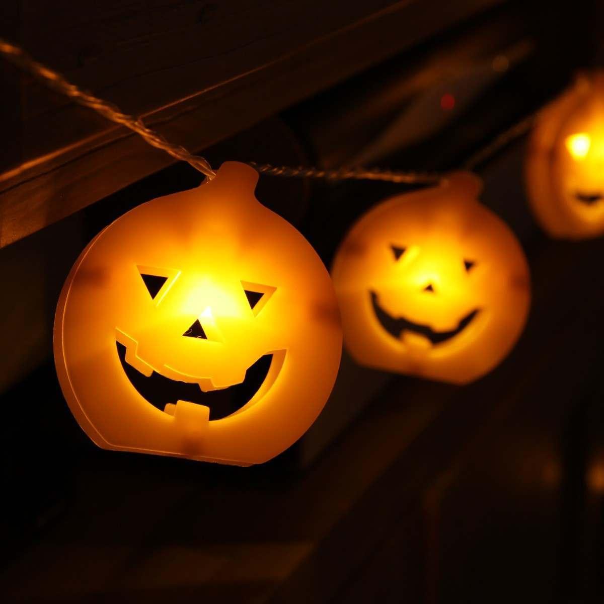 1.8m Battery Pumpkin Face Halloween Fairy Lights 10 Orange LEDs