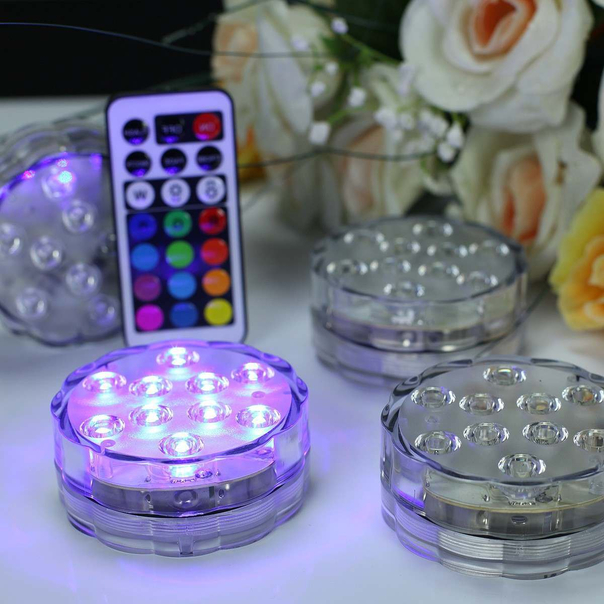 4 Colour Changing Submersible Vase Up Lighters with Remote Control