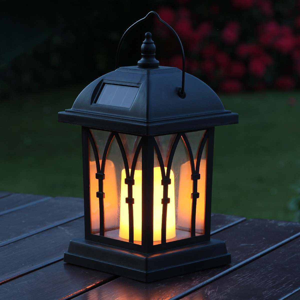 Black Solar Candle Lantern Flickering Amber Led 27cm
