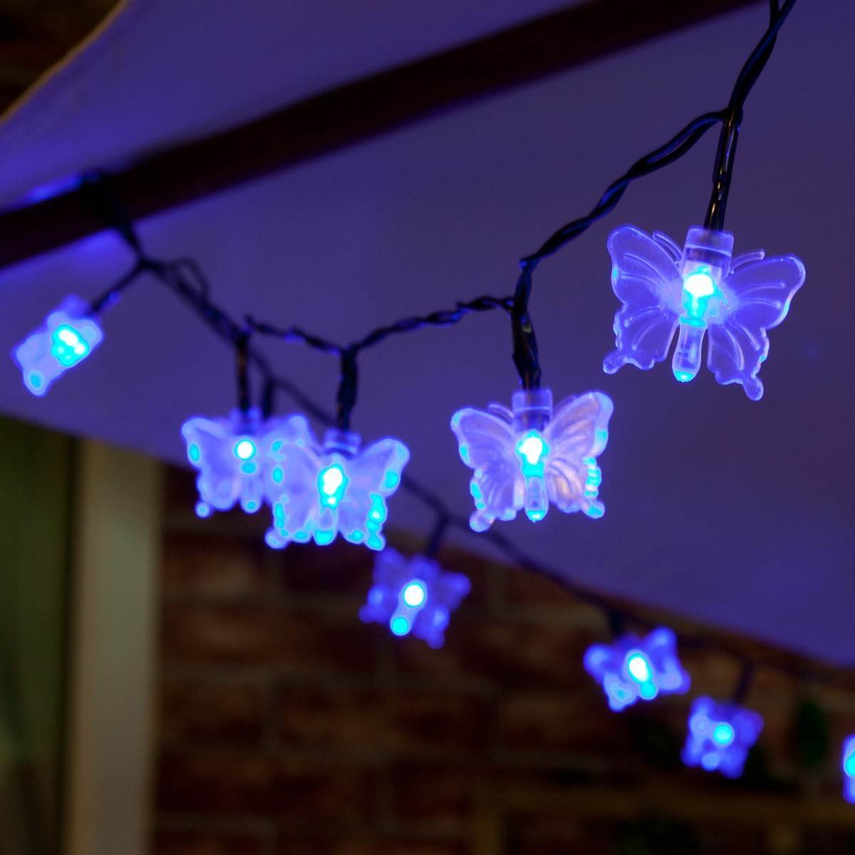 Click to view product details and reviews for 5m Outdoor Battery Butterfly Christmas Fairy Lights Blue Leds Green Cable.