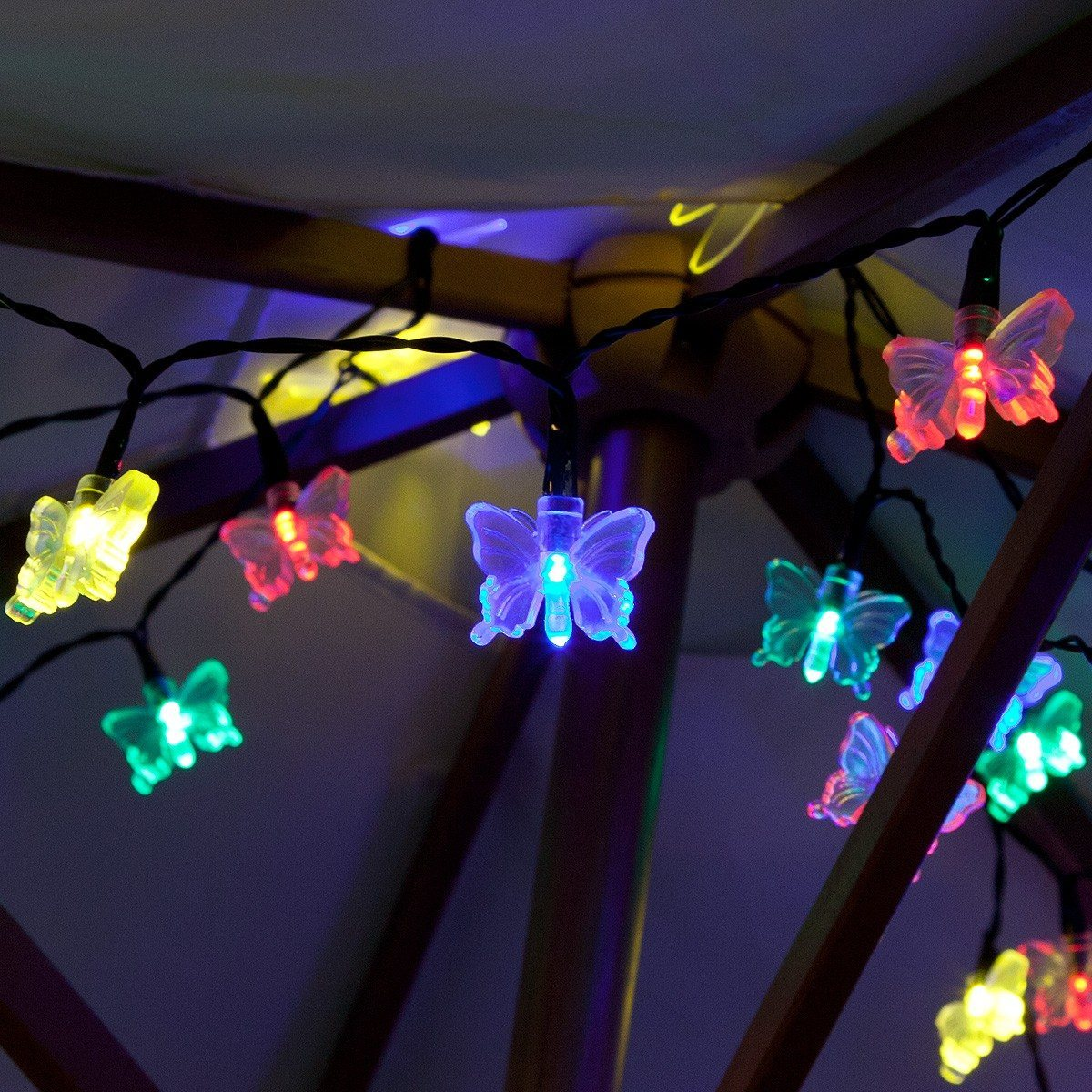 50 Multi Colour LED Butterfly Battery Operated Fairy Lights with Timer