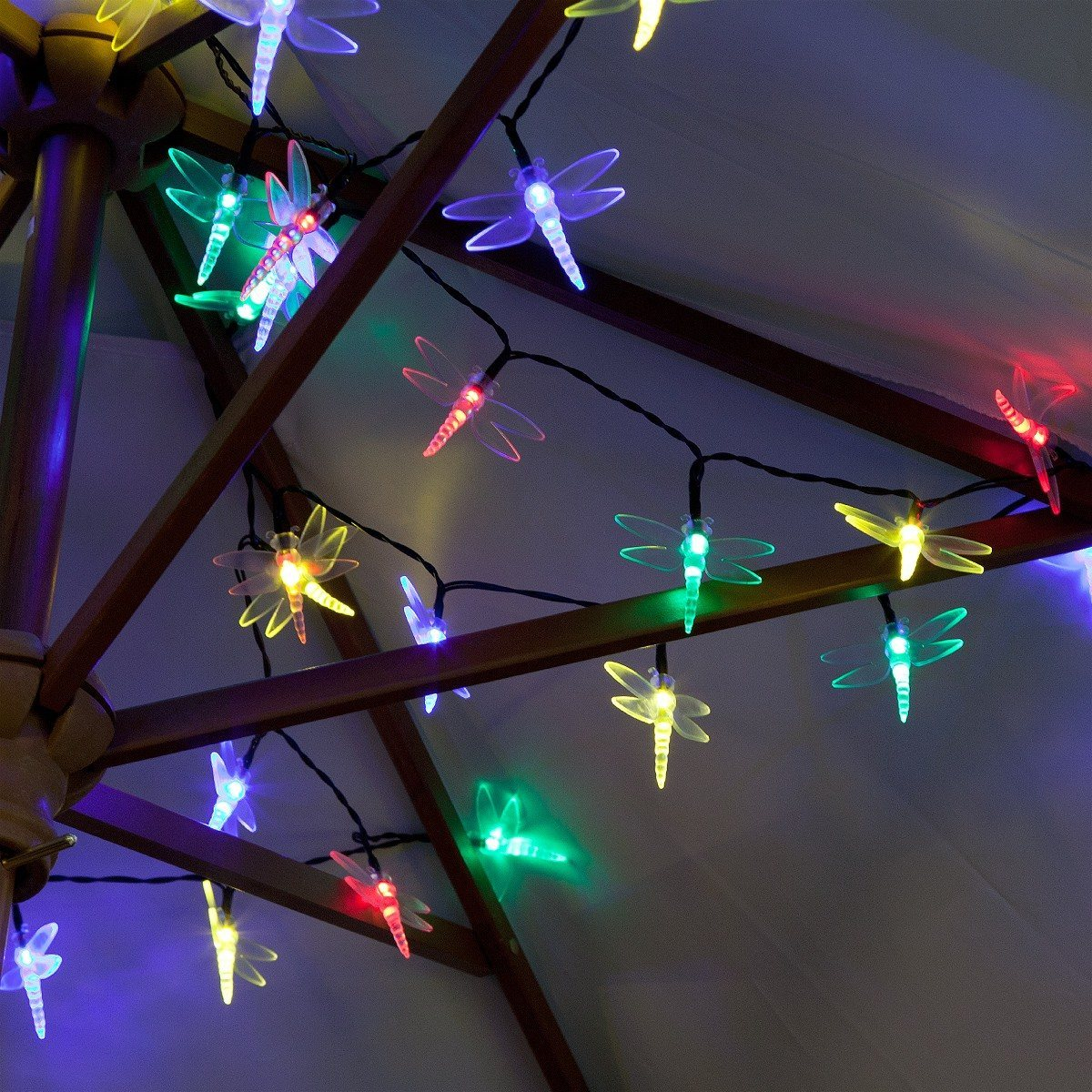 50 Multi Colour LED Dragonfly Battery Operated Fairy Lights with Timer
