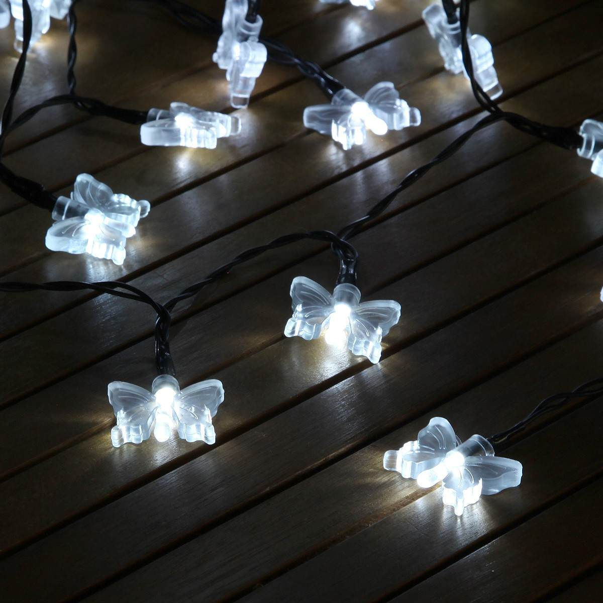 50 white led butterfly battery operated fairy lights with timer. Black Bedroom Furniture Sets. Home Design Ideas