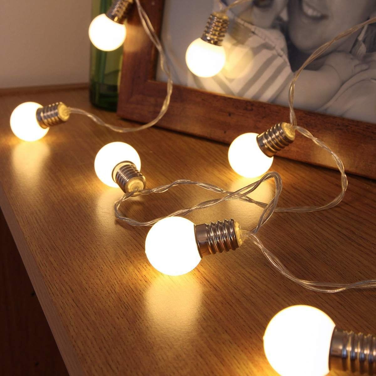 Mini Festoon Bulb Battery Fairy Lights 10 Warm White Leds