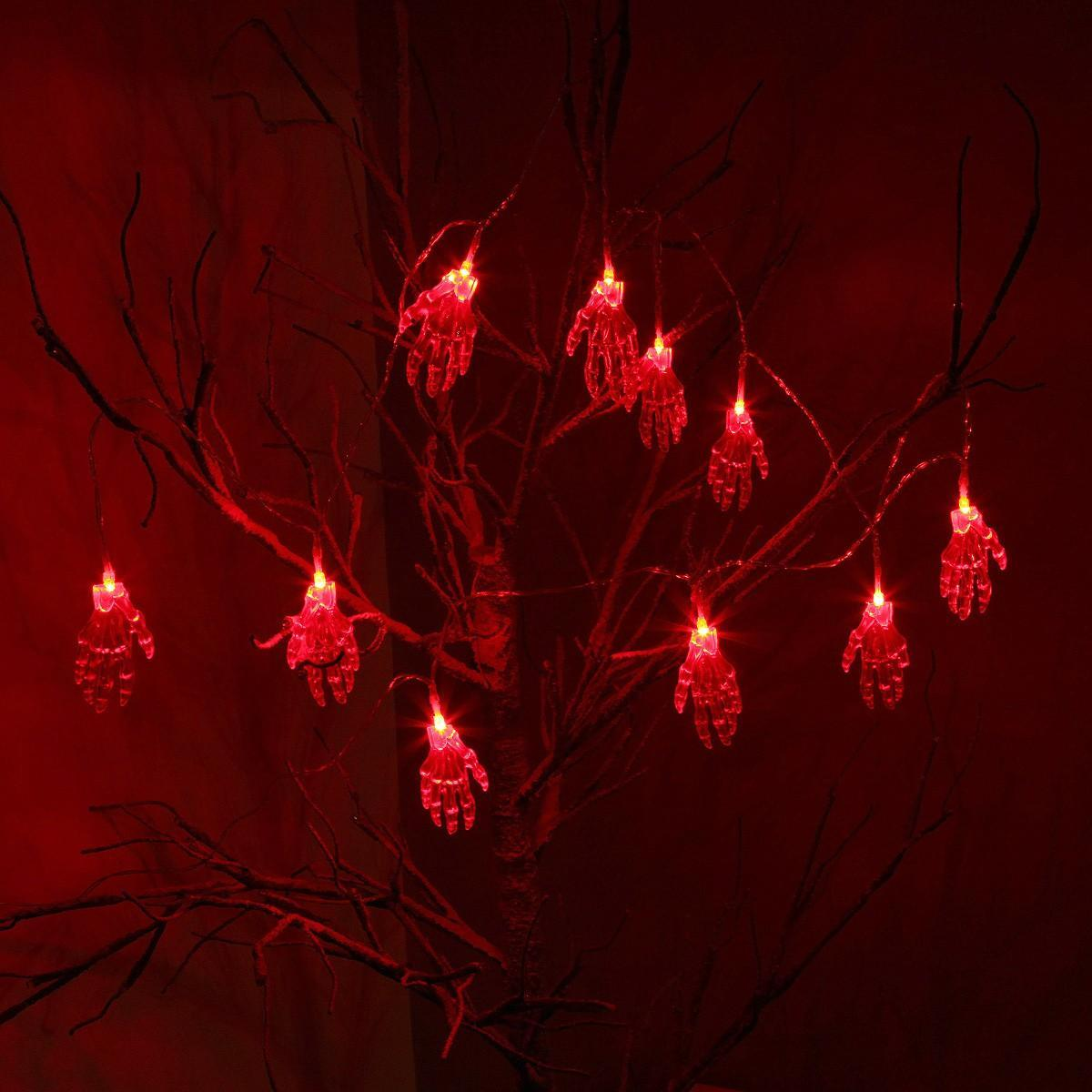 1.8m Battery Operated Hands Halloween Fairy Lights, 10 Red LEDs