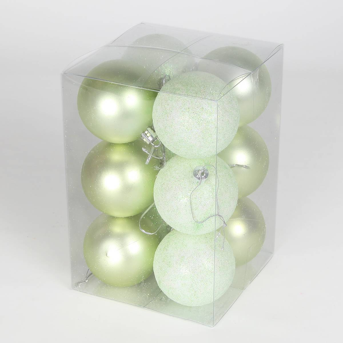 12 x 60mm Assorted Pastel Shatterproof Christmas Tree Baubles