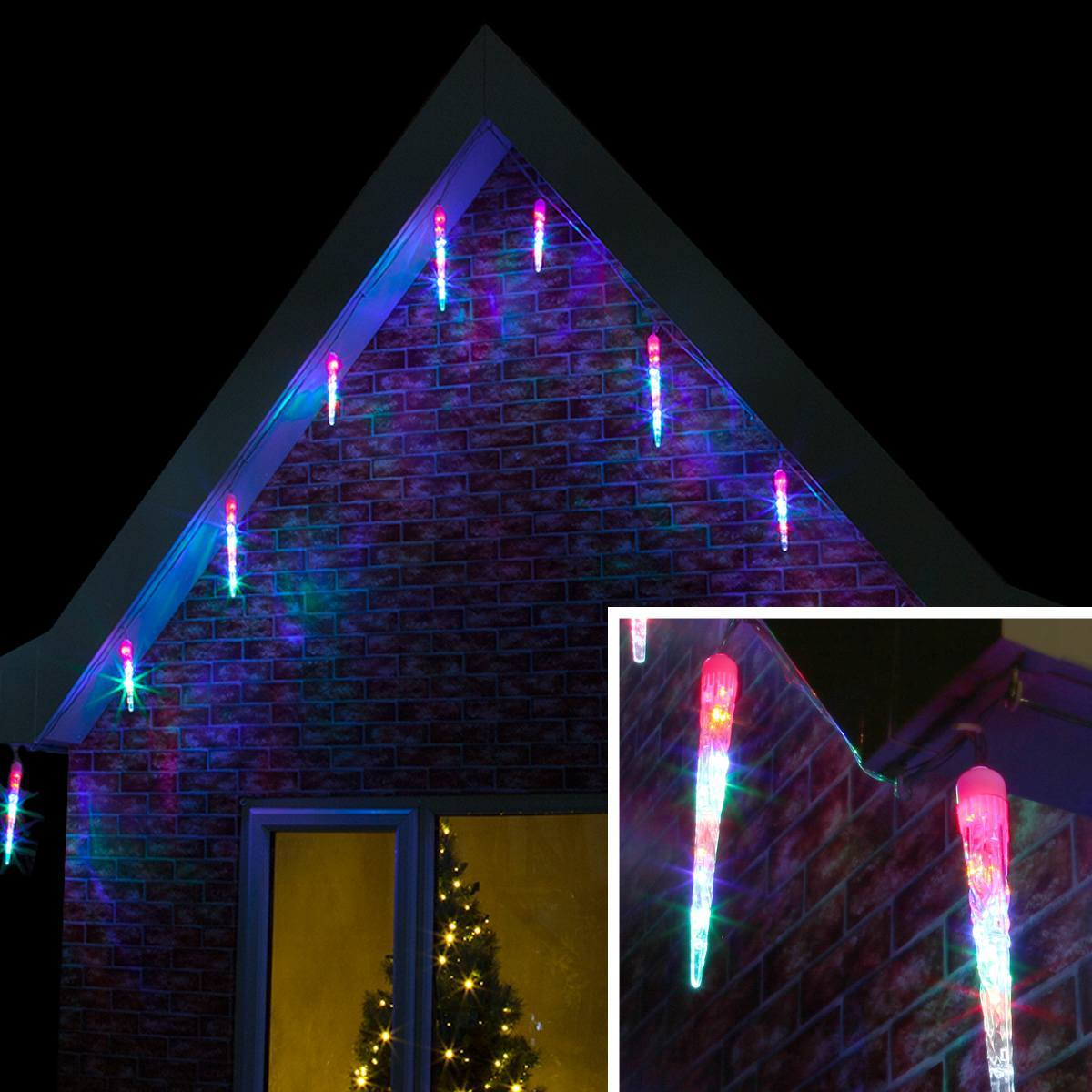 outdoor led icicle tube light clear cable. Black Bedroom Furniture Sets. Home Design Ideas