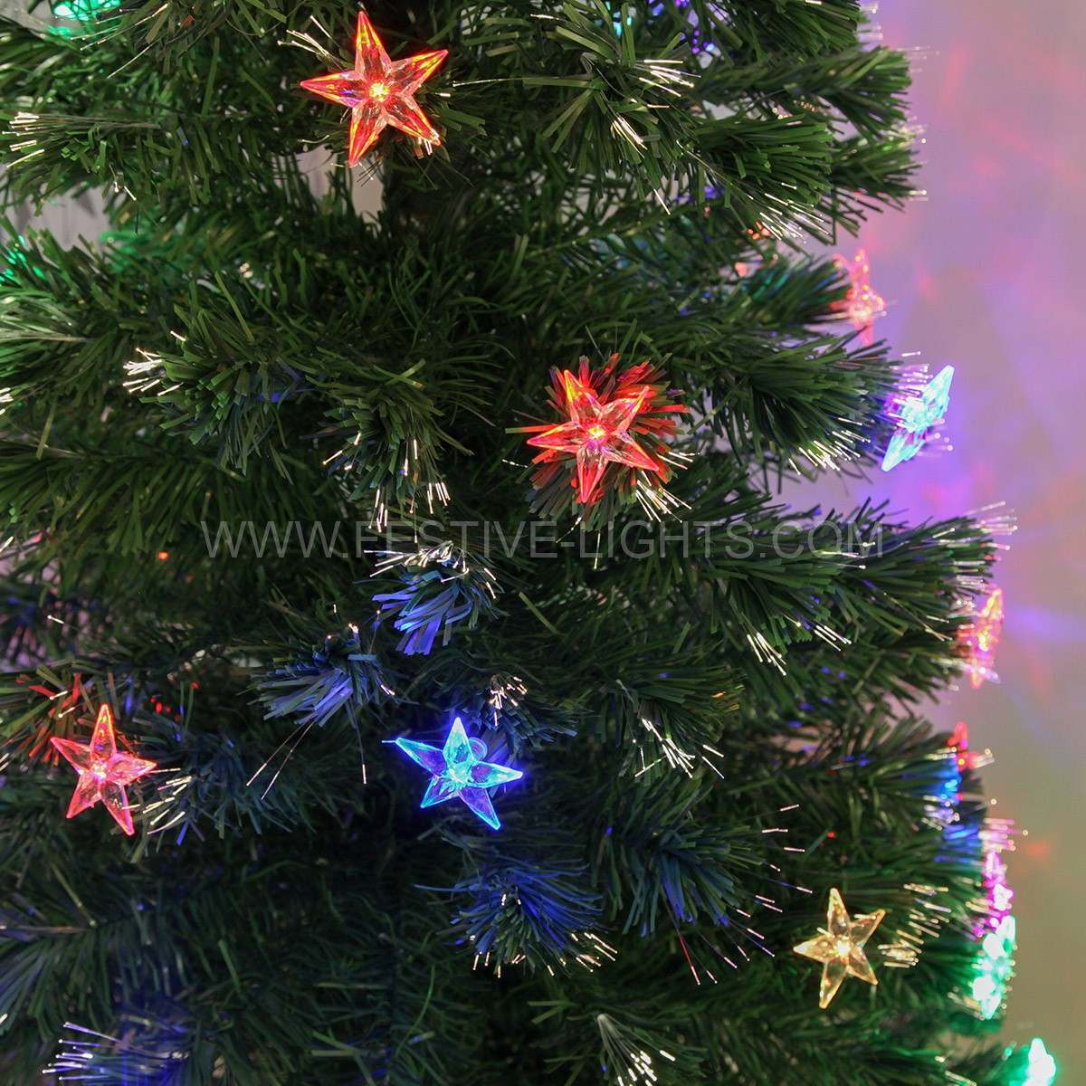 1.8m Colour Changing Fibre Optic Christmas Tree with Festive Themed Decorations