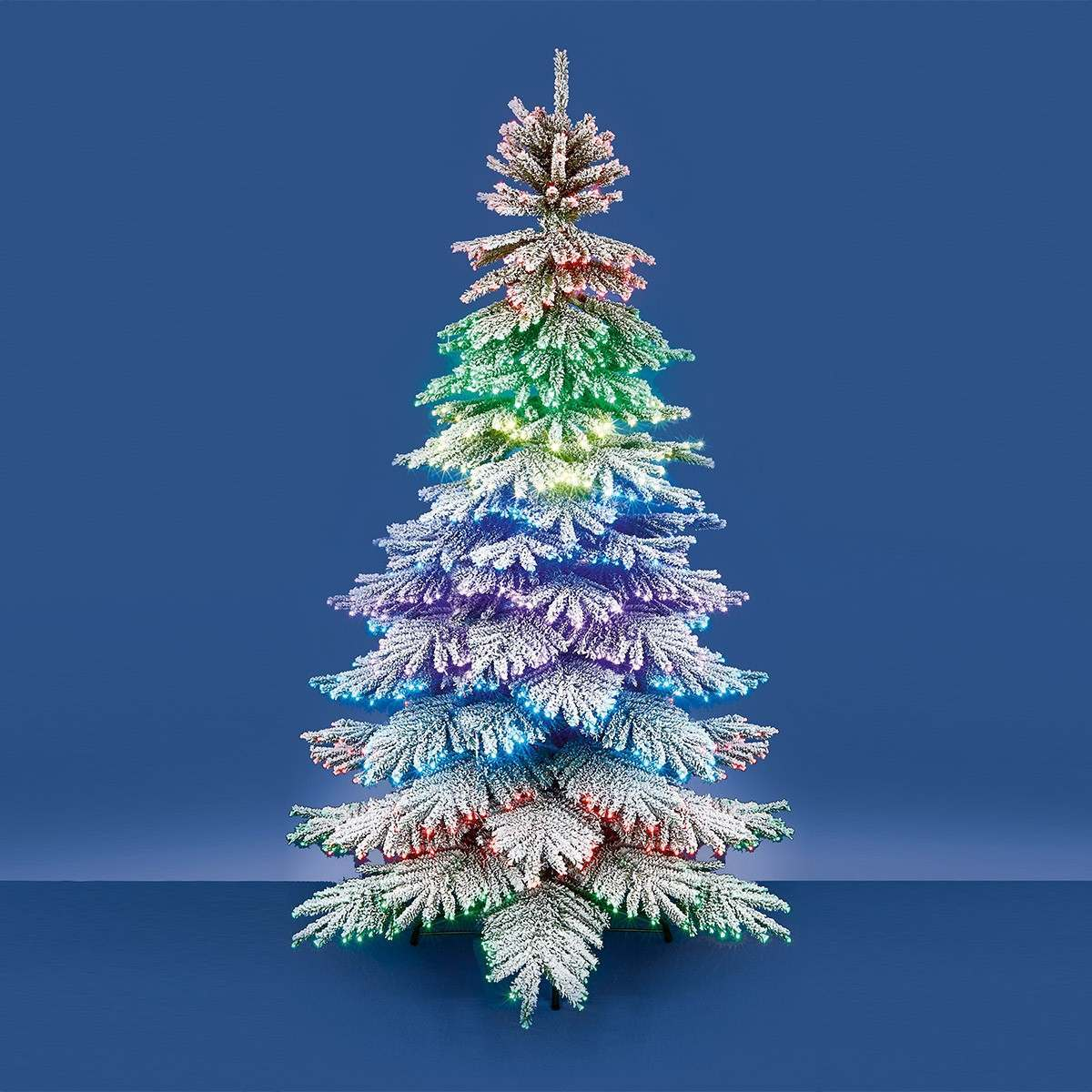 2.1m Outdoor Fibre Optic Dancing Lighting Flocked Christmas Tree