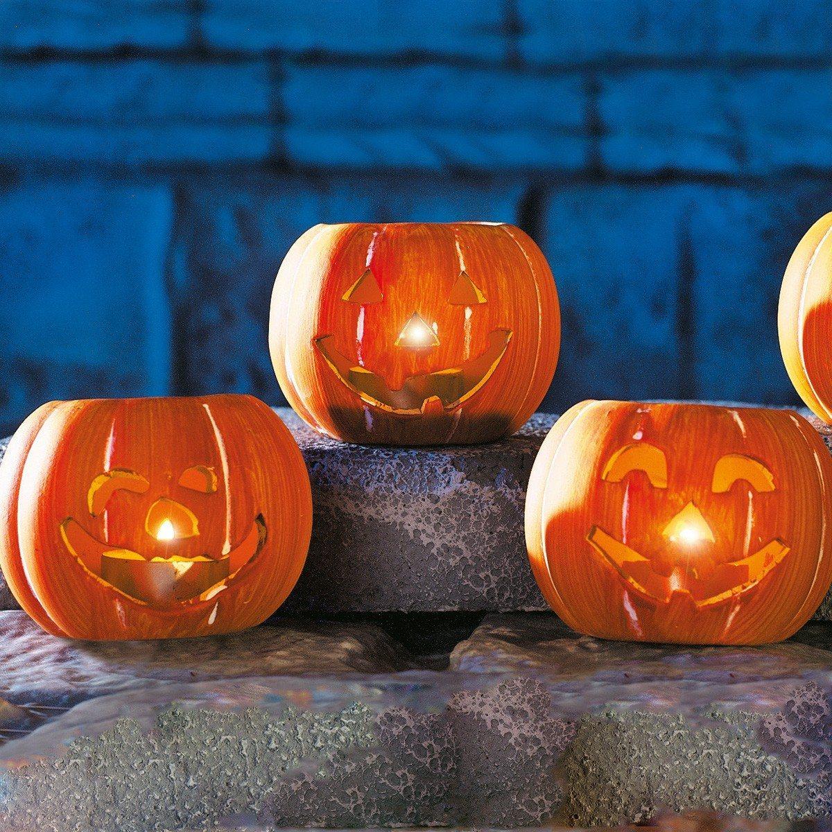 3 Halloween Pumpkin Candle Holders with Tea Lights 7cm