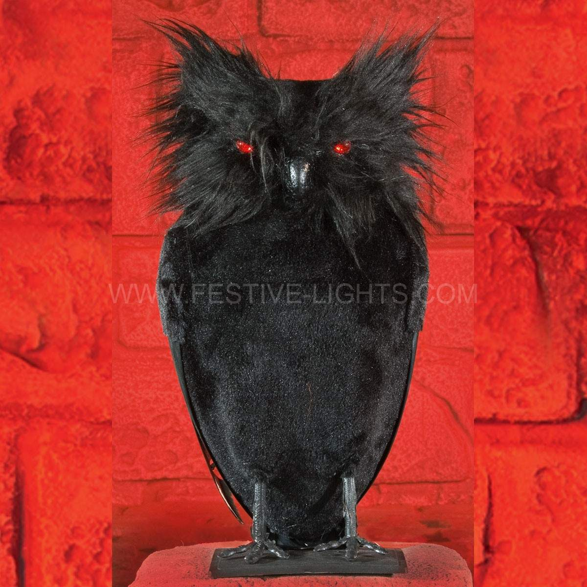 Click to view product details and reviews for 24cm Black Battery Operated Halloween Owl Light.