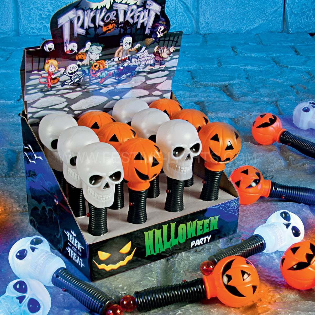 Battery Operated Halloween Skull Torch with Light Sound