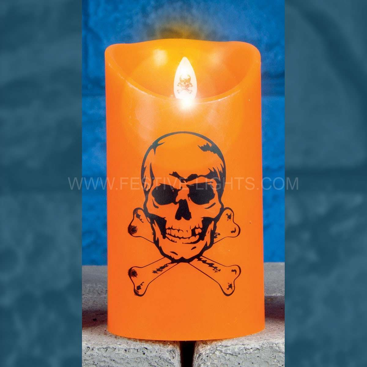 Click to view product details and reviews for 15cm Battery Halloween Dancing Flame Candle With Spooky Figure.