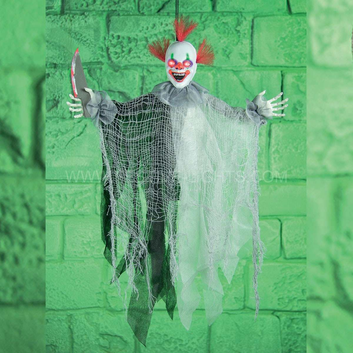 61cm Battery Animated Hanging Light up Clown with Knife Movement & Sound