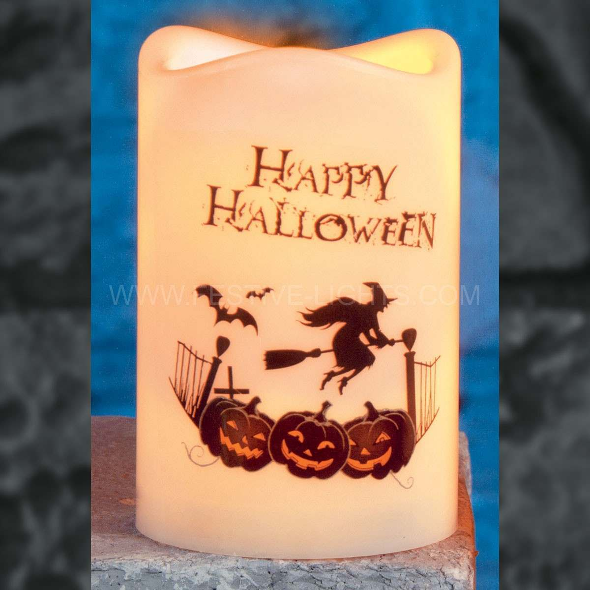 Click to view product details and reviews for 10cm Battery Operated Happy Halloween Candle With Spooky Figure.