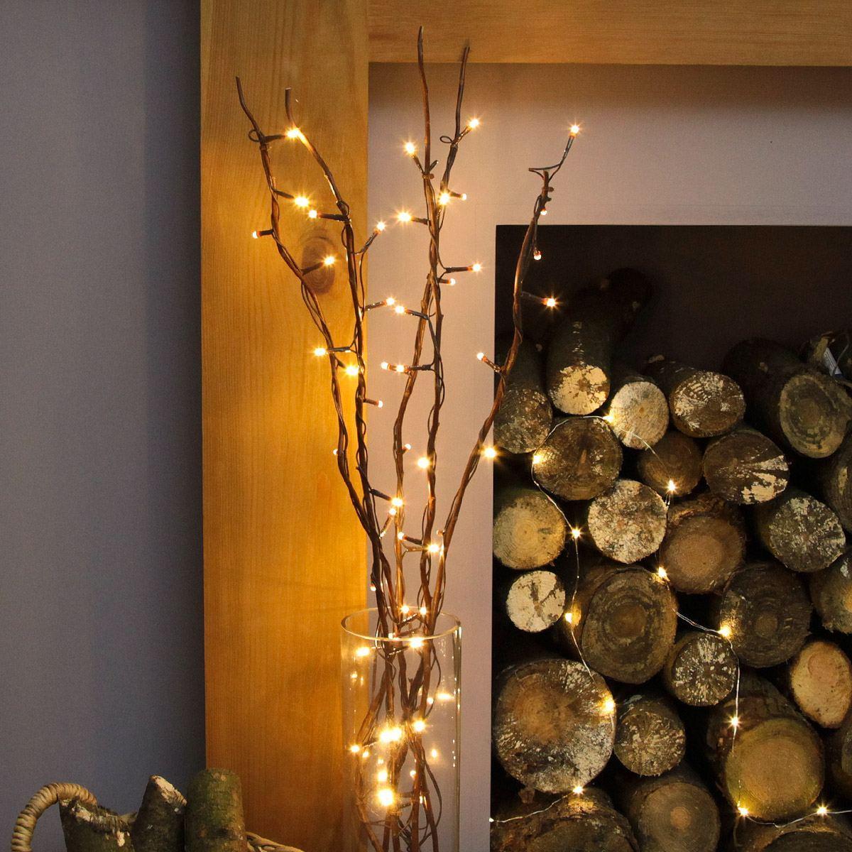 5 Decorative Willow Twig Lights 50 Warm White Leds 87cm