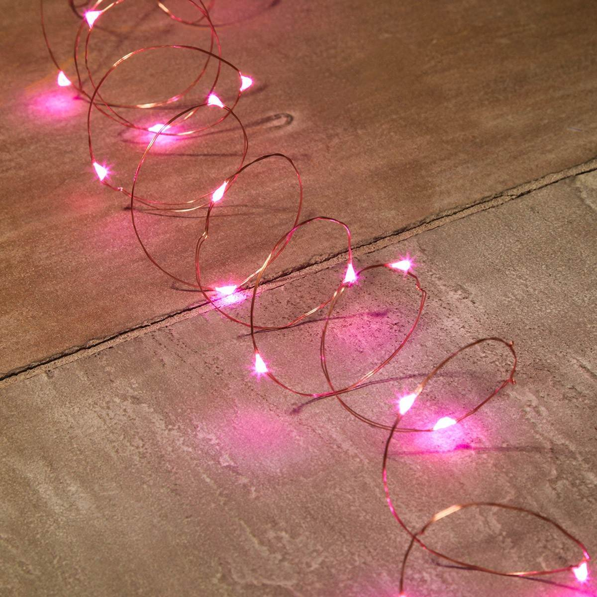 Copper Wire Micro Battery Fairy Lights, 20 Pink LEDs