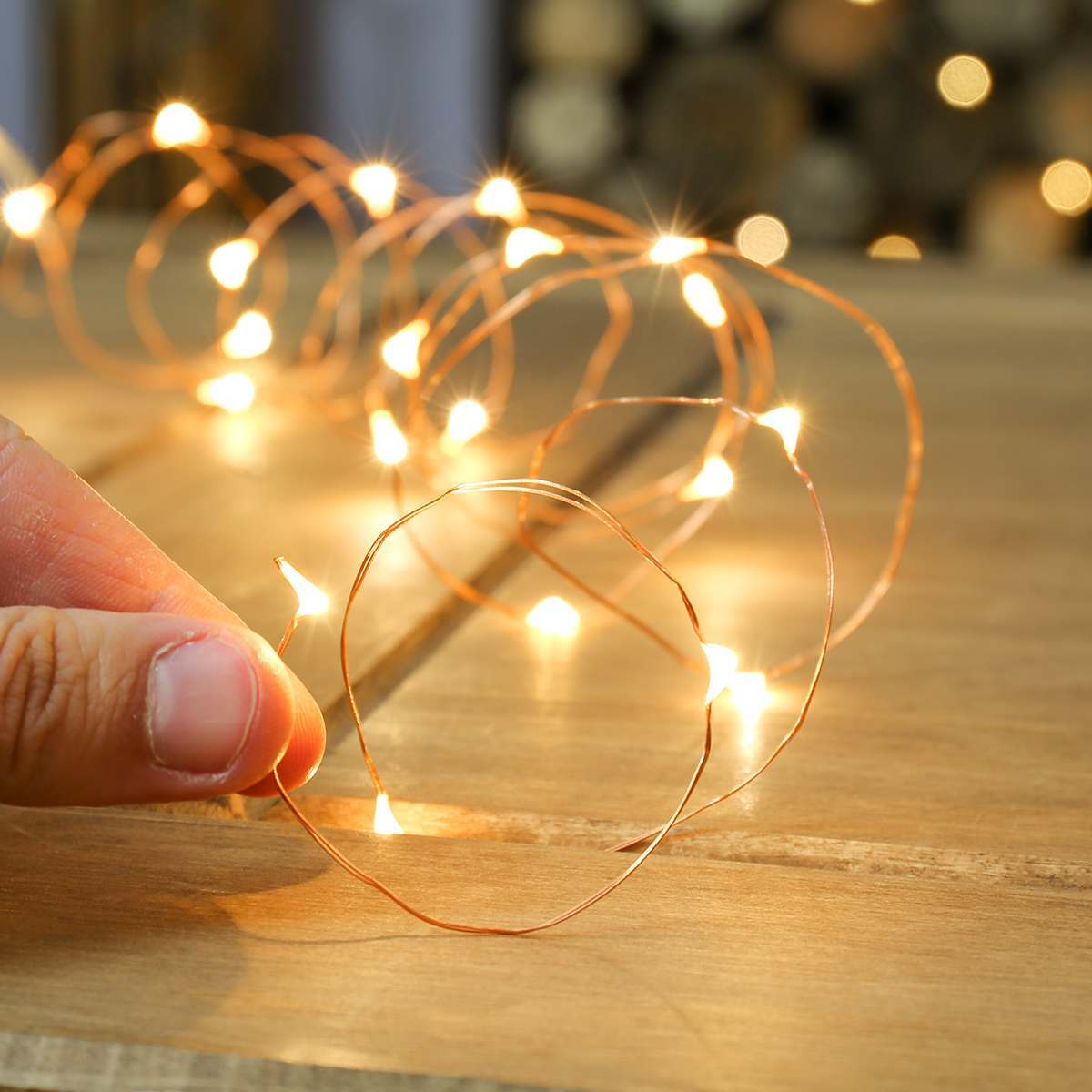 Warm white indoor battery copper wire lights