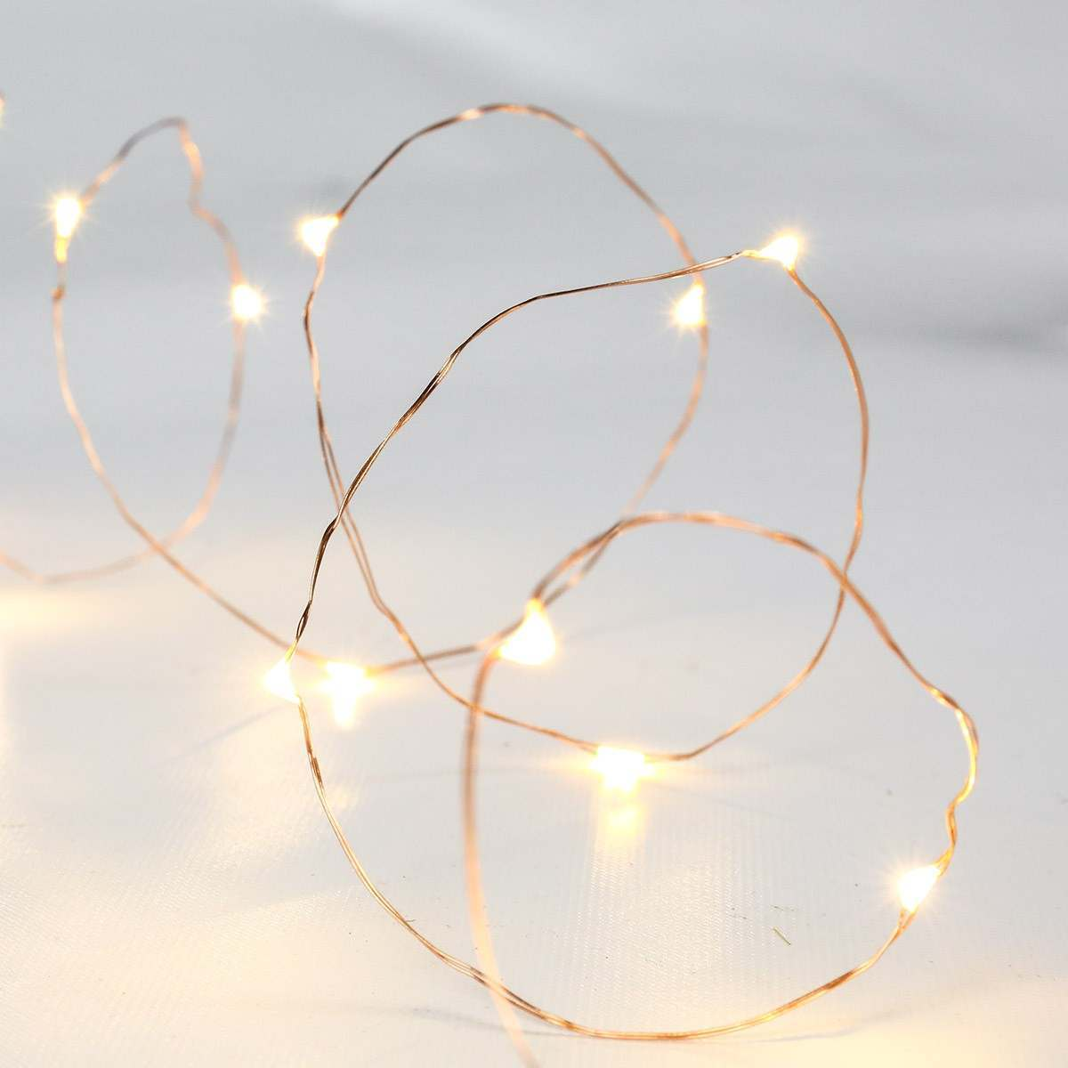Copper Wire Micro Battery Fairy Lights, 20 Warm White LEDs