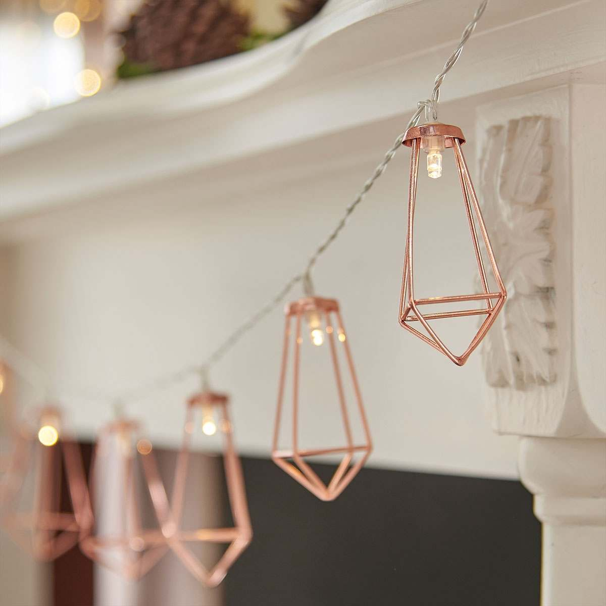 Indoor Battery Rose Gold Metal Lantern String Lights