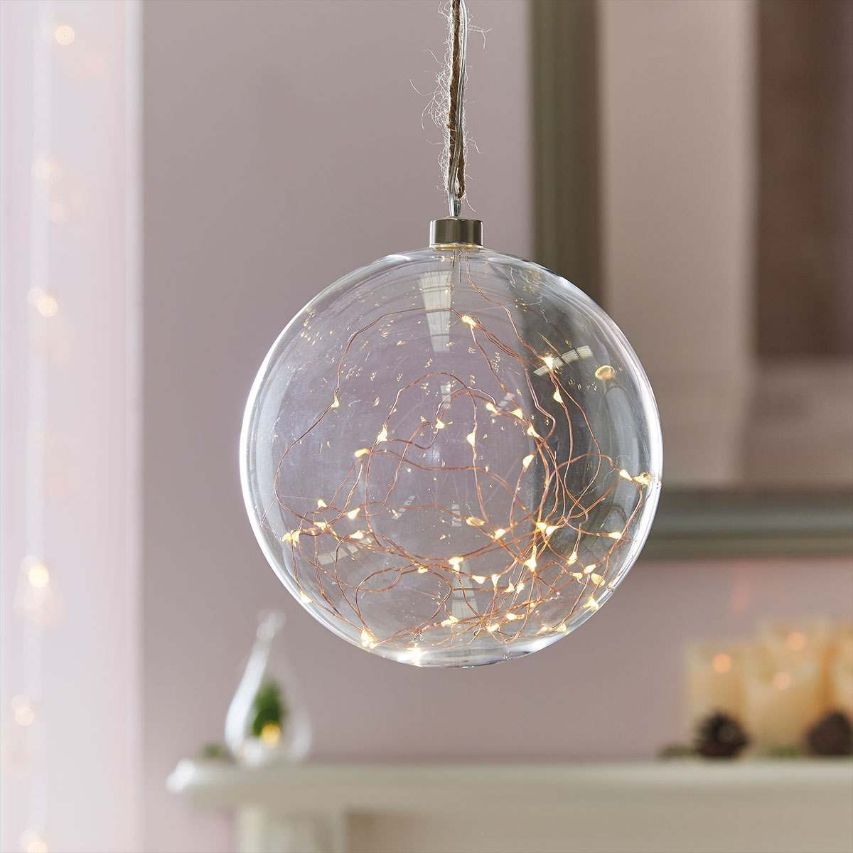 Indoor hanging glass ball with copper wire lights for Suspension boule verre