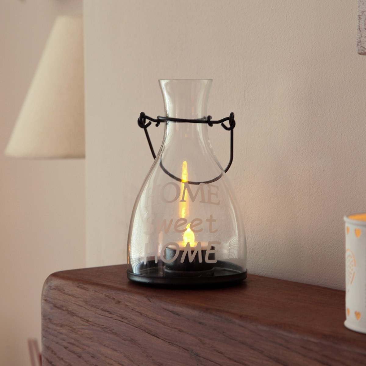 Click to view product details and reviews for Home Sweet Home Glass Tea Light Holder With Tea Light.