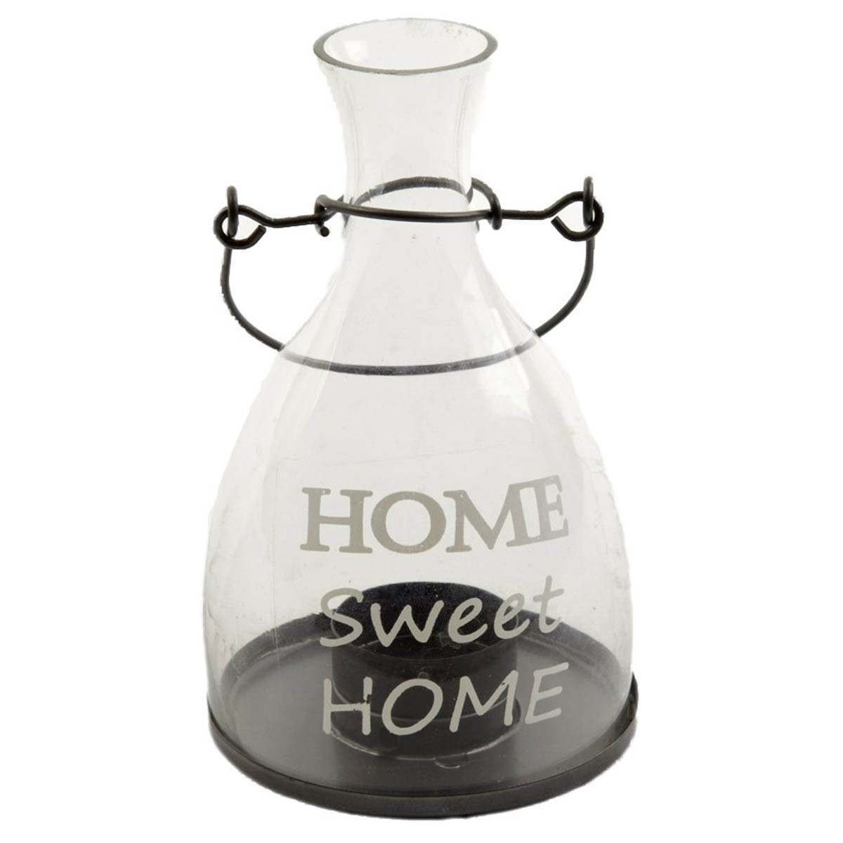 Click to view product details and reviews for Home Sweet Home Glass Candle Holder 17cm.