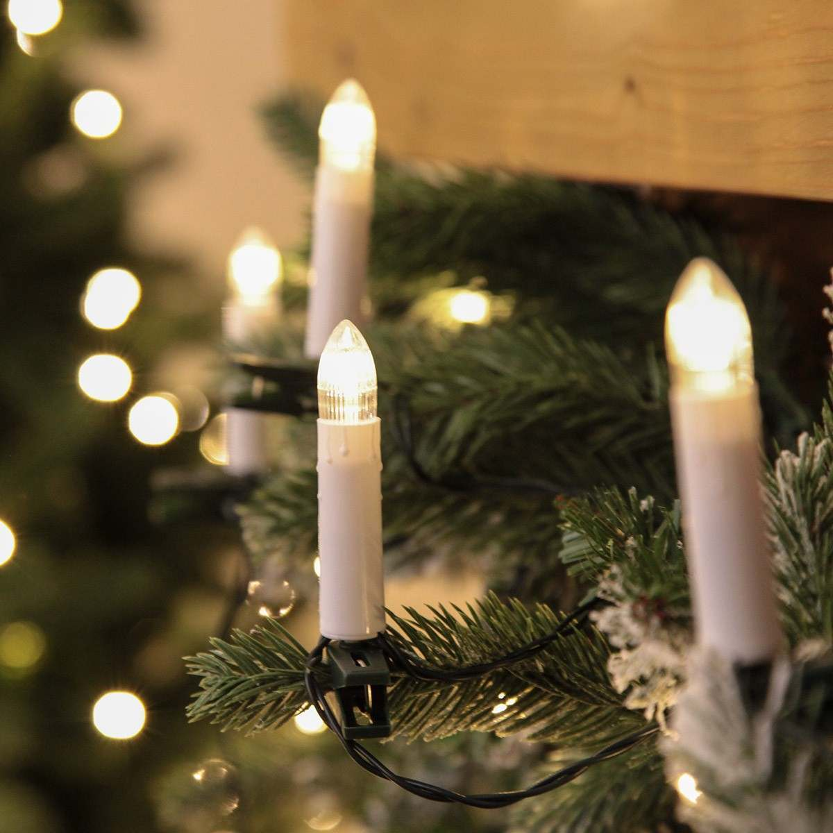 20 Battery Christmas Candle Lights with Clips Warm White LEDs 9.5cm