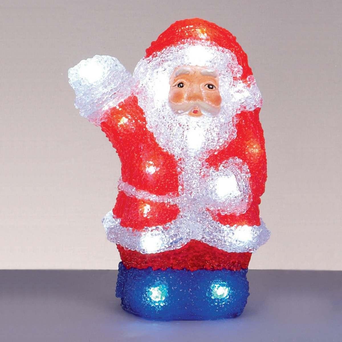 Acrylic Waving Santa 22cm Battery Operated