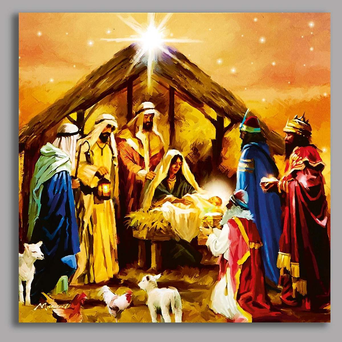 Click to view product details and reviews for Premier Battery Led Light Up Nativity Scene Canvas Scene 40 X 40cm.