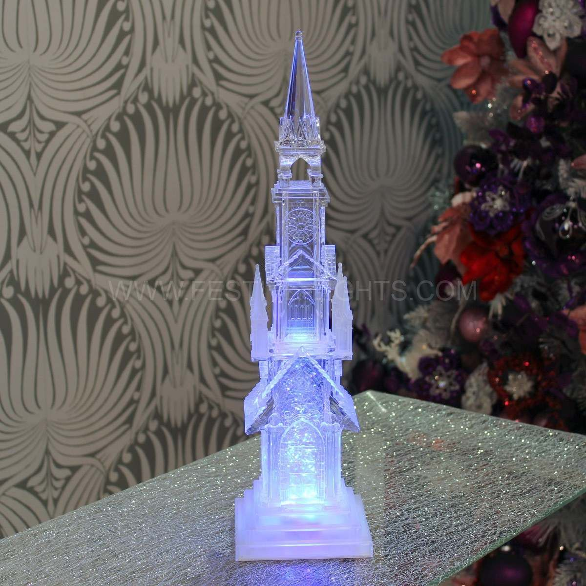 44cm Church Water Spinner Light, Colour Changing LEDs