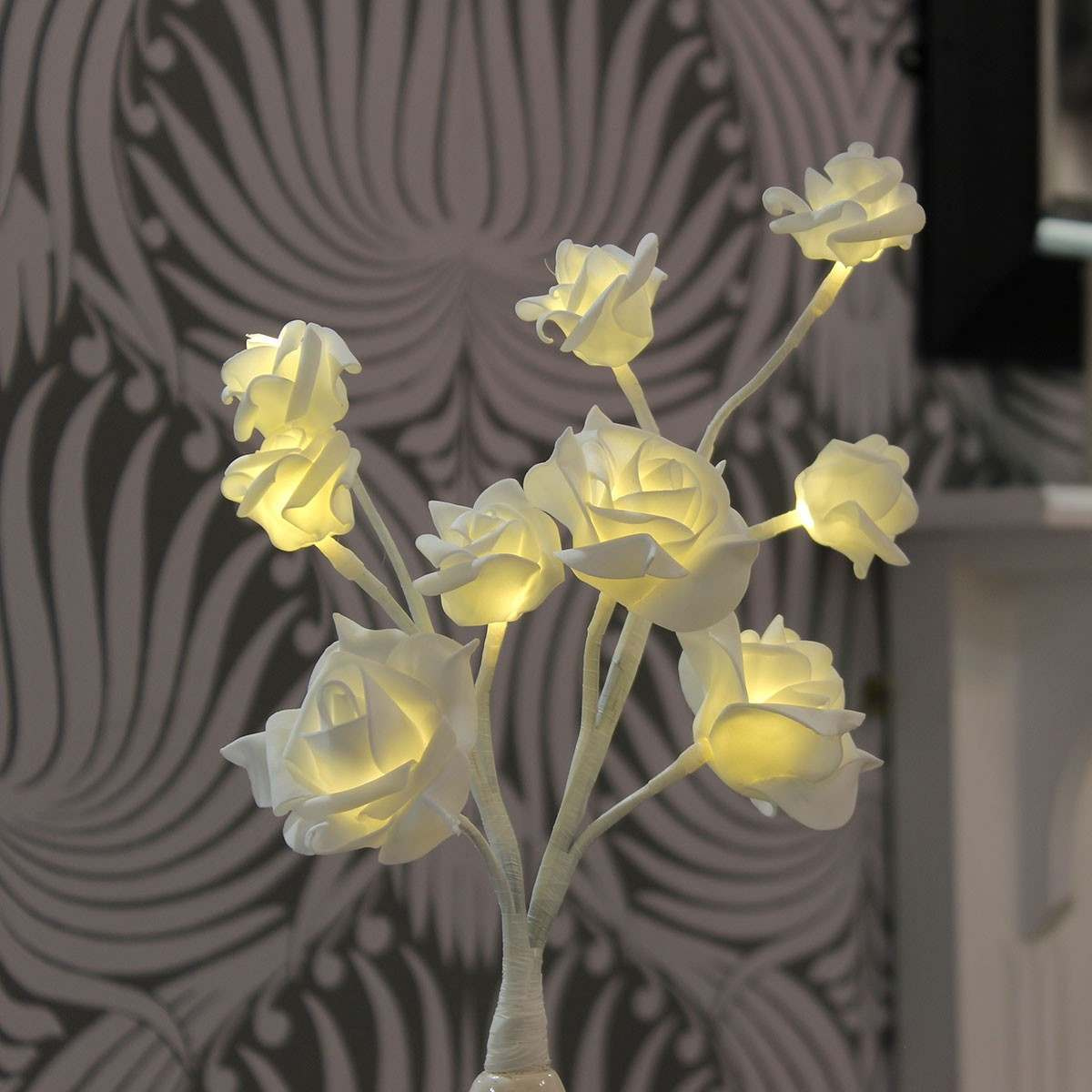 Click to view product details and reviews for 35cm Battery Rose Lights With Vase 9 Warm White Leds.