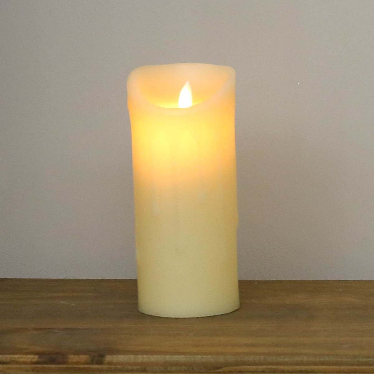 Cream Battery Dancing Flame Melted Wax Candle 18cm
