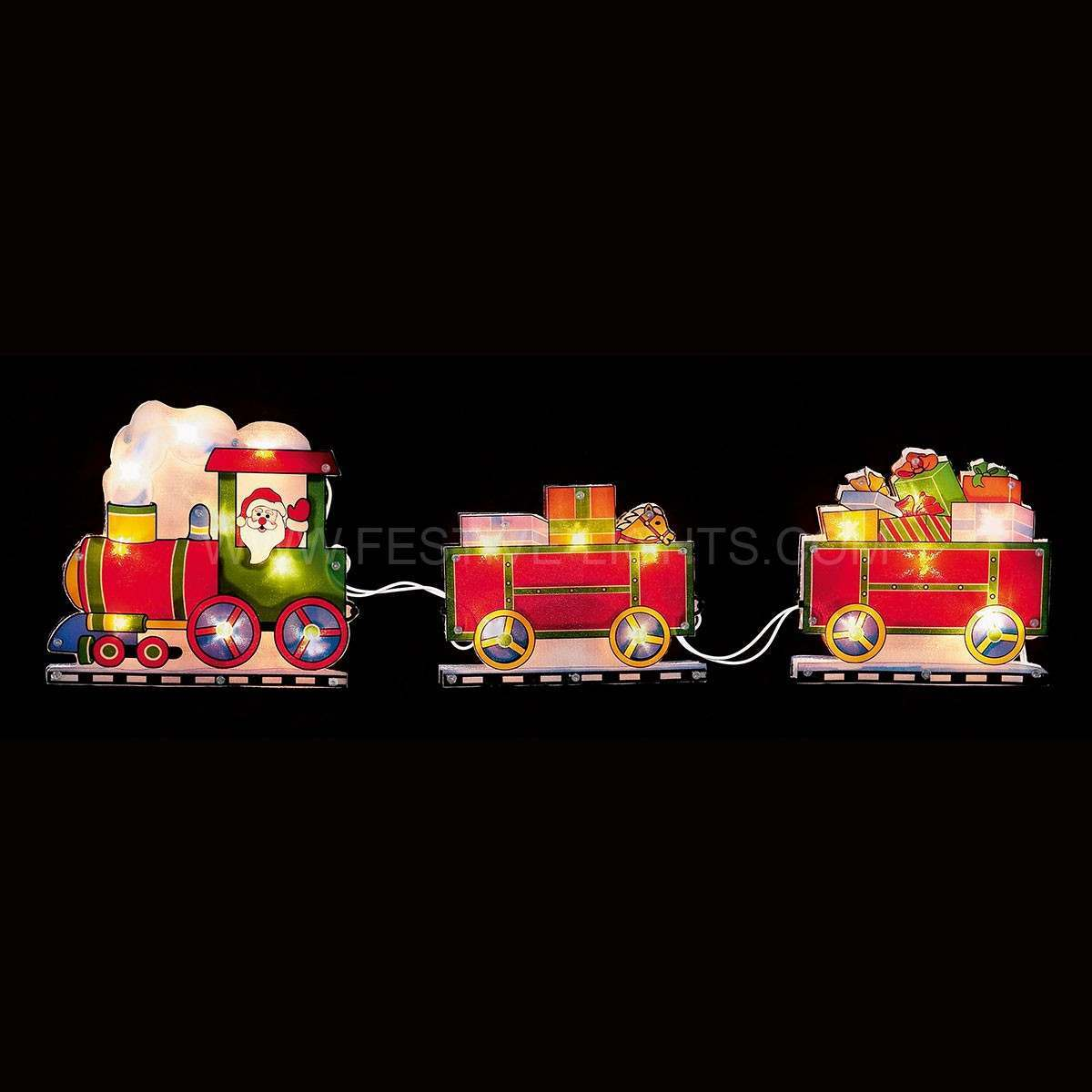 Click to view product details and reviews for 45cm Santa In Train Motifs With Gifts 20 Leds.