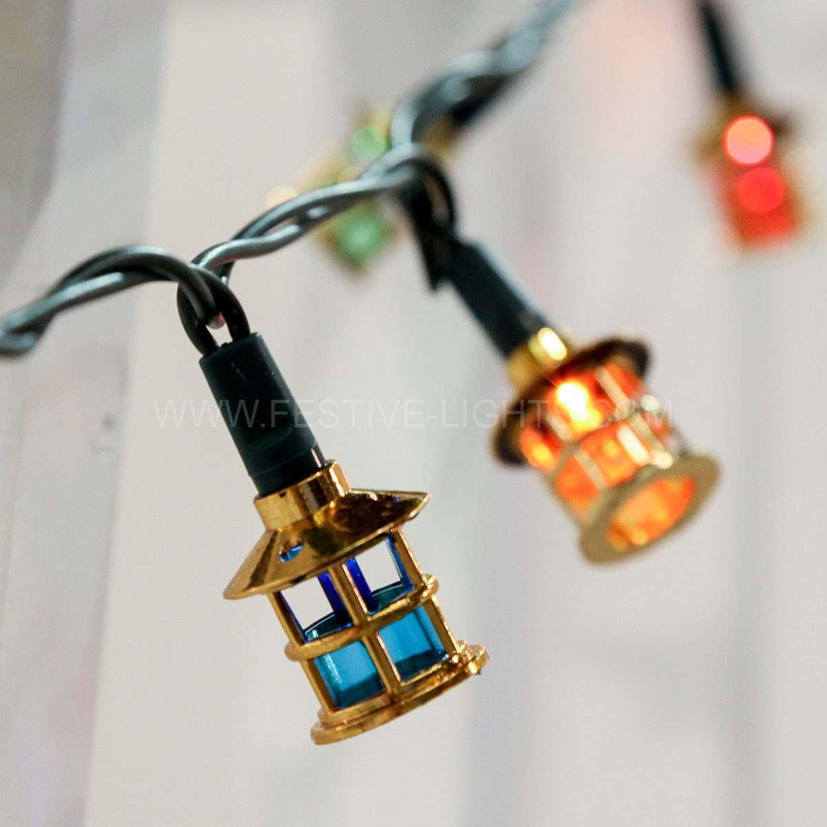 5.8m Traditional Lantern Fairy Lights, 40 Multi Coloured Filament Bulbs