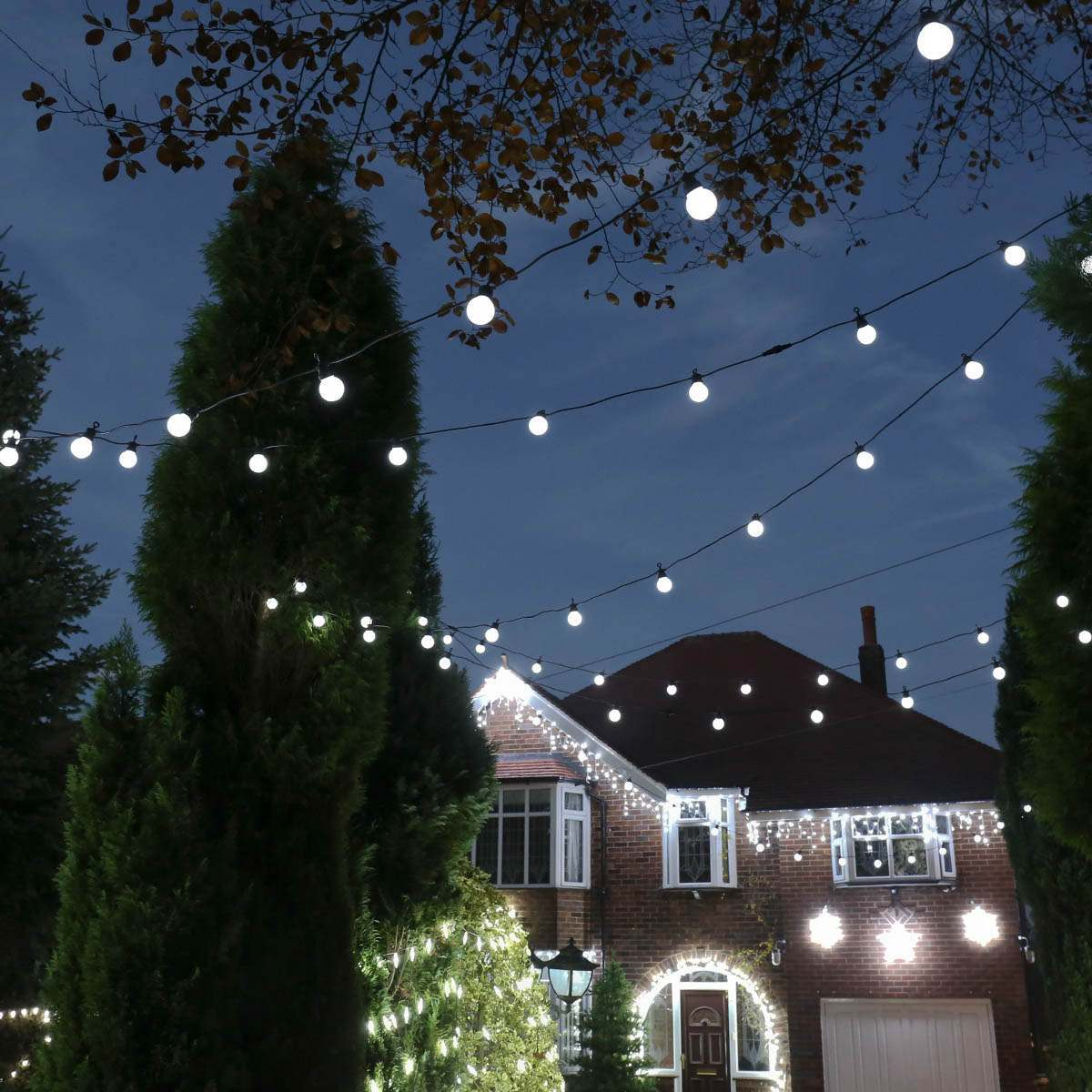 Click to view product details and reviews for 24m Christmas Festoon Lights Connectable 60 White Leds Black Cable.